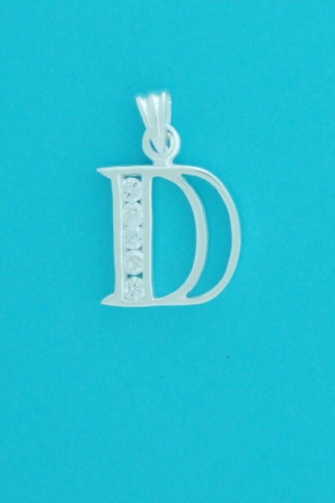 Genuine 925 Sterling Silver Cubic Zirconia Set Block Initial Pendant
